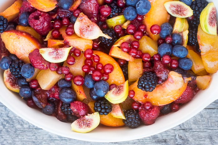 Summer Jumble Fruit Crumble ~ a mix of summer fruit baked up into an easy dessert! ~ theviewfromgreatisland.com