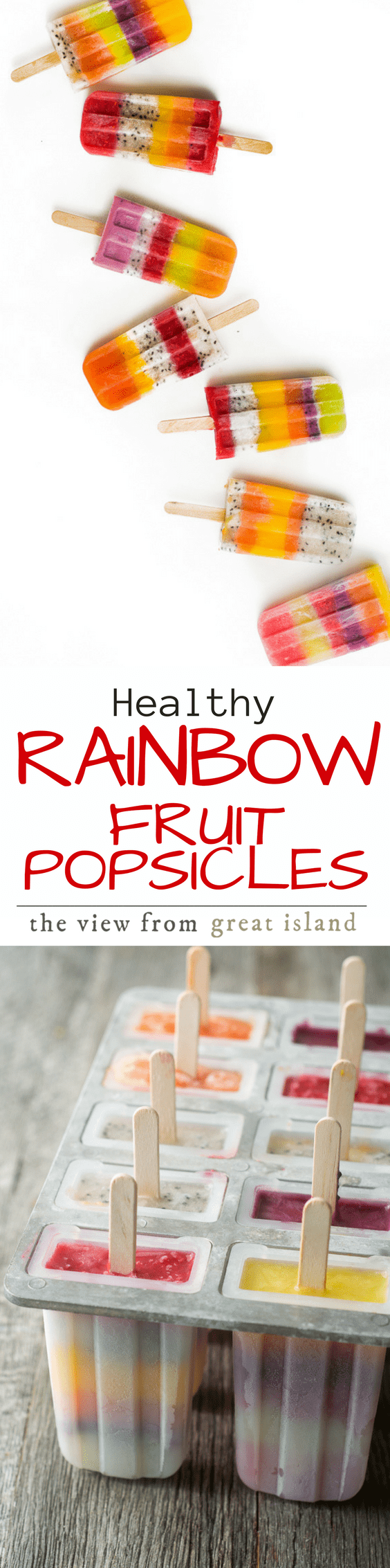 Not your toddler's Rainbow Popsicles --- these healthy frozen treats are made with exotic fruits like mango, dragon fruit, papaya, golden kiwi and black raspberry to tempt the most sophisticated palates. | ice cream | fruit | healthy | kids dessert | summer | juice |