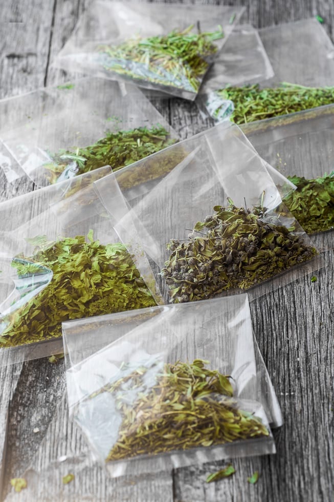 packets of homemade Microwave Dried Herbs ~ a great way to preserve summer's bounty! ~ theviewfromgreatisland.com