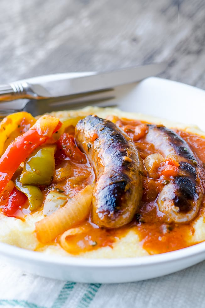 Easy Sausage and Peppers over polenta recipe ~ theviewfromgreatisland.com