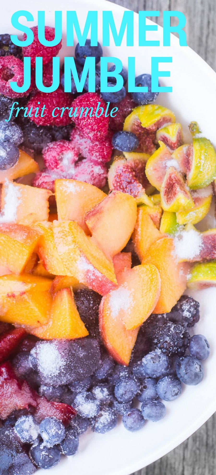 Are you ready to mix it up? Summer Jumble Fruit Crumble combines all those bits and pieces of delicious ripe fruit you've got lying around into one fabulously easy dessert. | stone fruit | berries | baking | easy dessert | summer dessert |