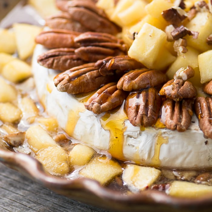 Baked Maple Brie with Apples and Pecans ~ a gorgeous appetizer for the holidays, or your next party! ~ theviewfromgreatisland.com