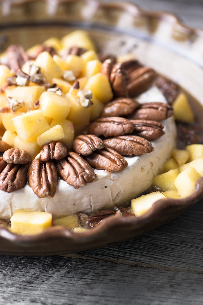 Maple Baked Brie with Apples and Pecans