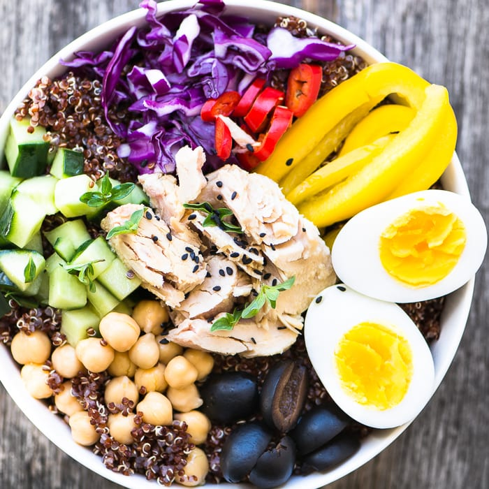 Albacore Buddha Bowl is made with protein rich wild caught tuna on a bed of red quinoa ~ 20 Healthy Recipes You Need To Get Your Glow Back!