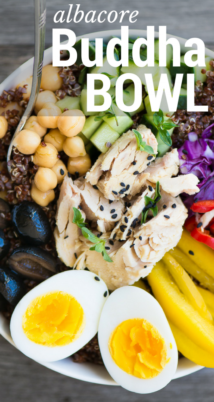 Healthy, quick and easy Albacore Buddha Bowls can be made with pantry staples for a delicious 30 minute meal! ~ theviewfromgreatisland.com
