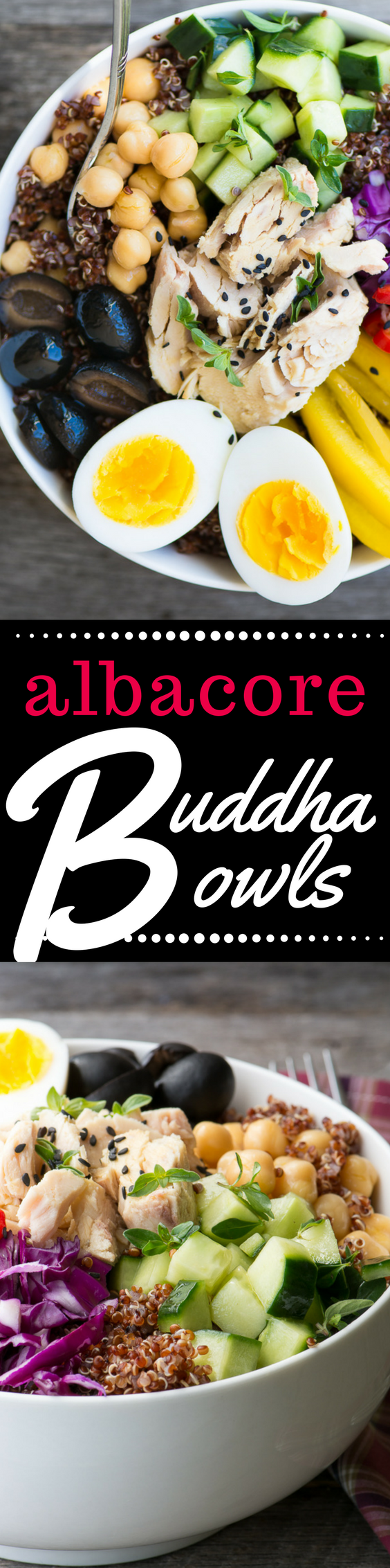 Albacore Buddha Bowls are quick, easy, high protein meals that can be made from pantry staples in under 30 minutes. ~ theviewfromgreatisland.com