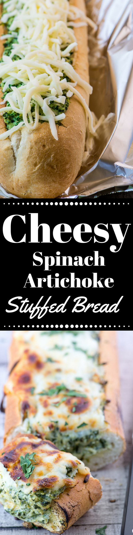 Cheesy Spinach Artichoke Bread is the perfect appetizer package….everybody's favorite garlicky, cheesy dip all hot and bubbly and ready-stuffed into a crunchy baguette. Slice it up and watch it disappear. #appetizer #cheesebread #spinachartichokedip #partyfood #stuffed #hotappetizer
