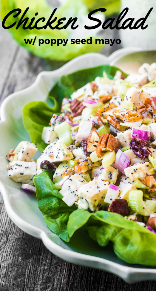 Chicken Salad with Poppy Seed Mayonnaise is an unexpected delight --- everybody is going to beg for the recipe for this fun twist on a lunchtime classic, and the mayo is made completely from scratch! #salad #chicken #poppyseeds #lunch #healthylunch