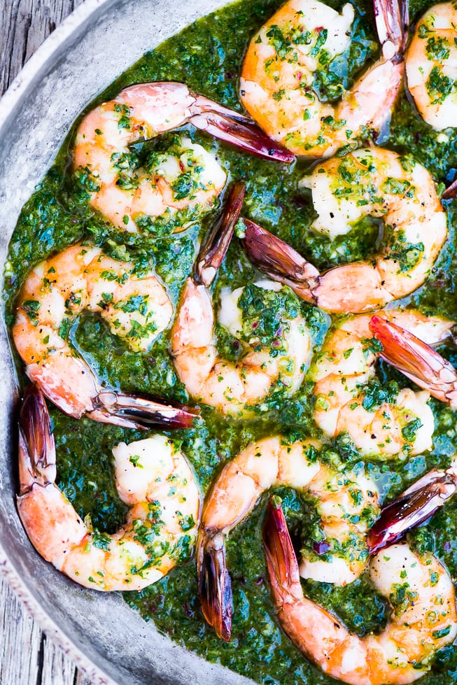Chimichurri Shrimp in a skillet