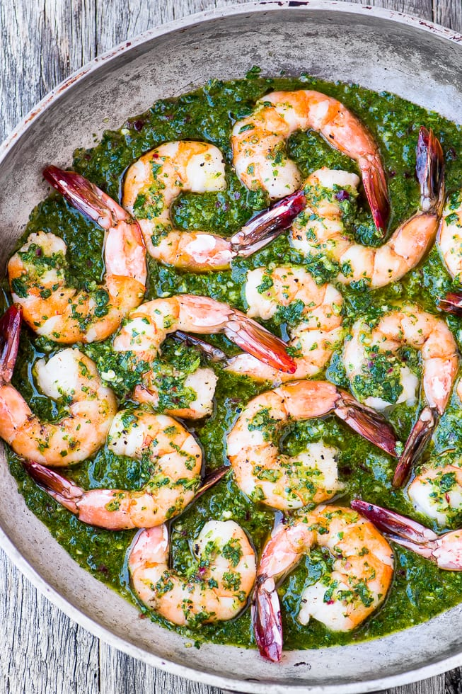 Chimichurri Shrimp in bright green sauce in a pan