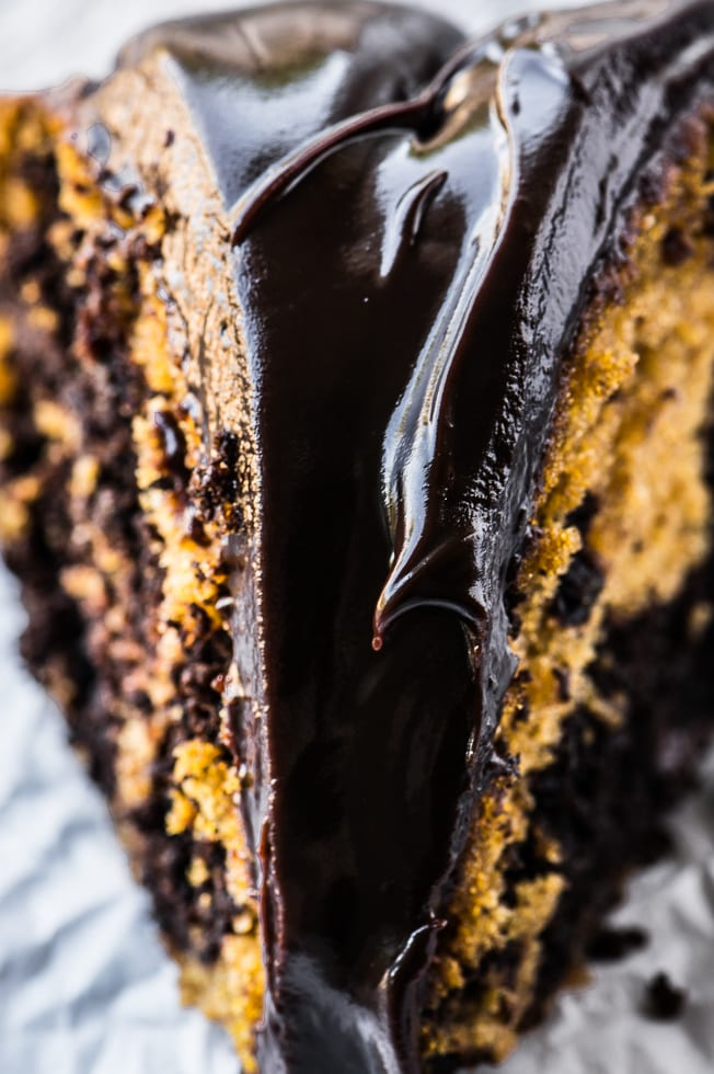 Marbled Pumpkin Bundt Cake topped with a thick bittersweet ganache ~ theviewfromgreatisland.com