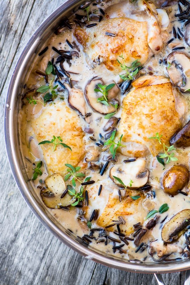 Creamy Chicken with Wild Rice and Mushrooms is an easy and comforting meal whether yoy're having company or just sitting down with the family. ~ theviewfromgreatisland.com