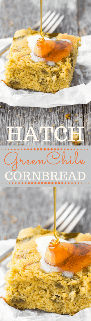 Hatch Green Chile Cornbread is a tantalizing combination of sweet and heat! | theviewfromgreatisland.com #quickbread #fall #Thanksgivingside #hatchchile #NewMexico #bread #fallsidedish