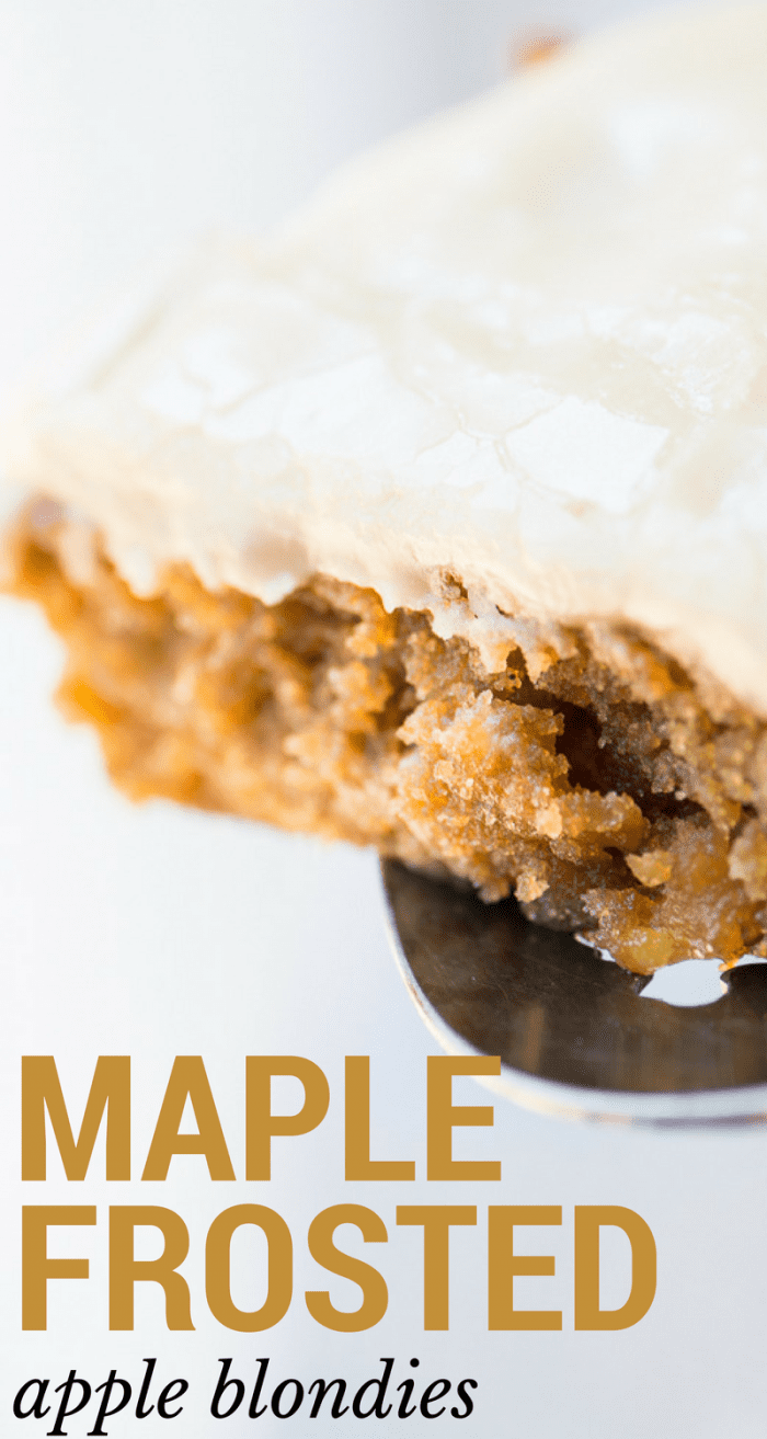 Maple Frosted Apple Blondies are the essence of Fall --- moist blondies studded with tart bits of apple and topped with an intensely sweet maple frosting ~ theviewfromgreatisland.com #blondies #falldessert #maple #apples #appleblondies #applecake #appledessert #mapledessert #easydessert #caramel #bars