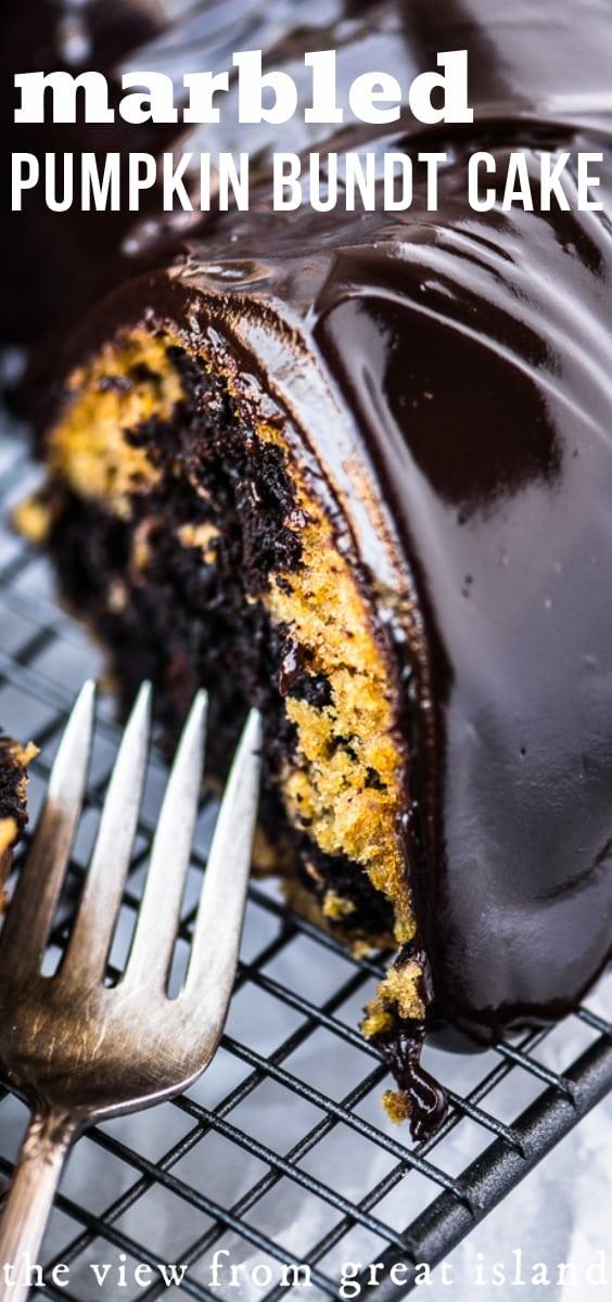 Marbled Pumpkin Bundt Cake is the ultimate Fall indulgence! ~ theviewfromgreatisland.com #cake #bundtcake #pumpkincake #pumpkinbread #pumpkinchocolatechip #fallcake #coffeecake