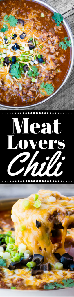 Meat Lovers Chili is hearty enough for the biggest appetites! ~ theviewfromgreatisland.com #chili #comfortfood #groundbeef #dinner #familydinner #tailgating #gameday #gamenight #beef