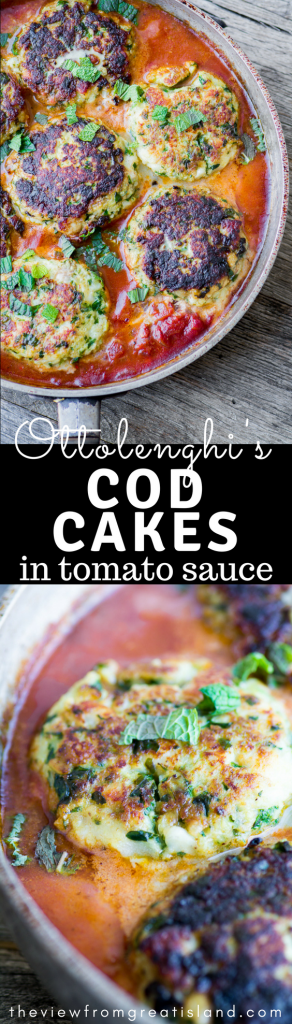 Ottolenghi's Cod Cakes in Tomato Sauce is an earthy meal of tender fish cakes tucked into an aromatic sauce. Serve it with couscous and sauteed spinach...this is comfort food with a Middle Eastern flair. #fish #seafood #healthydinner #dinner #easymeal #meatlessmonday #comfortfood #healthy #fishcakes