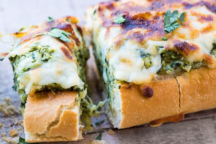 Cheesy Spinach Artichoke Bread