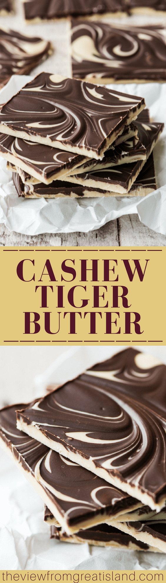 Cashew Tiger Butter ~ this delicious chocolate and cashew butter bark is fun to make and even more fun to eat! Let the kids help you swirl the layers together! #candy #homemadecandy #chocolate #choclatebark #chocolateandpeanutbutter #swirledbark #easydessert #foodgift