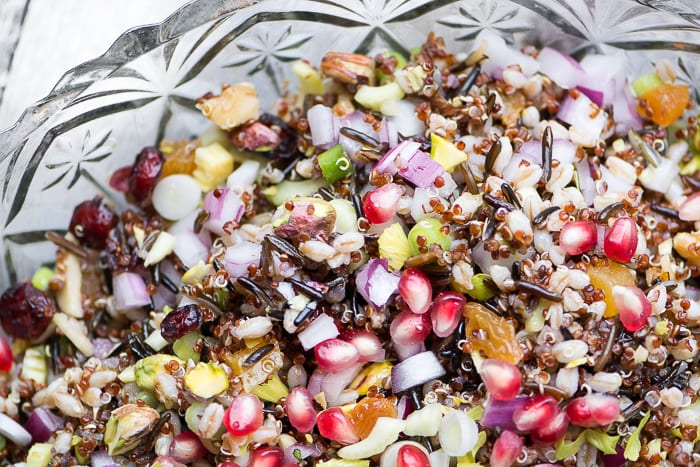 This pretty vegan Ancient Grain salad is versatile and healthy! ~ theviewfromgreatisland.com