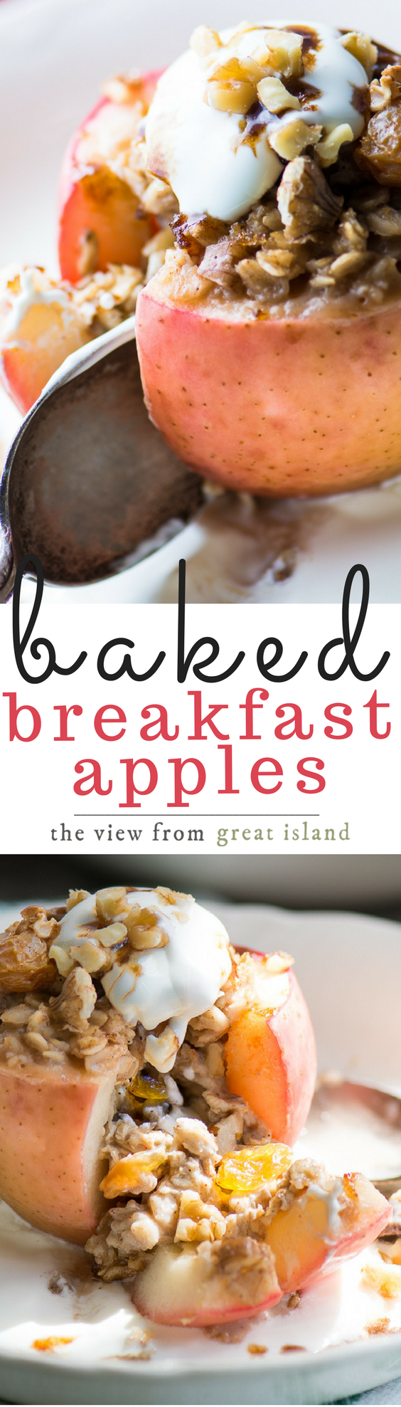 Juicy Baked Breakfast Apples are stuffed with oatmeal, topped with a drizzle of maple syrup and a dollop of whipped cream or yogurt for the coziest breakfast around! #breakfast #brunch #fall #bakedapples #oatmeal #apples #healthybreakfast #backtoschool #bestbakedapples
