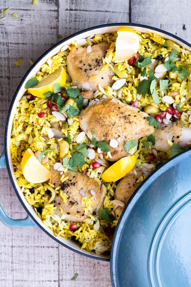 Lemon Chickey Biryani is an aromatic one pot chicken thighs and basmati rice dish that comes from centuries old Persian and Indian recipes ~ theviewfromgreatisland.com