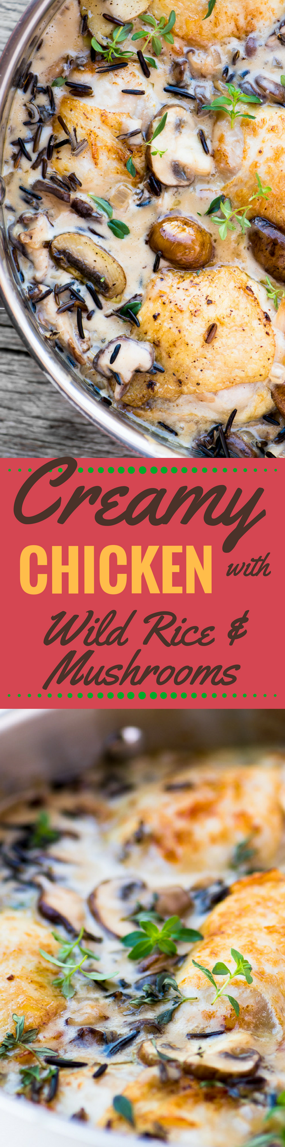 Creamy Chicken with Wild Rice and Mushrooms ~ this earthy, stick-to-your-ribs skillet dinner is ideal for a chilly fall night! #chicken #chickenandrice #bestchickenthighrecipe #chickenthighrecipe #comfortfood #fall #wildrice #mushrooms #easychickenrecipe #deliciouschicken #dinner #creamofmushroom
