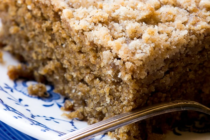 Gingerbread Crumb Cake ~ on a plate with fork