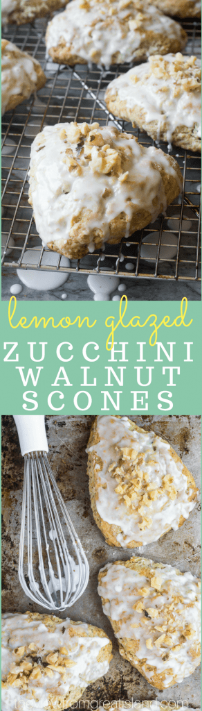 Lemon Glazed Zucchini Walnut Scones ~ this cross between a scone and a zucchini muffin is just heaven with your morning cup of coffee. I love to refrigerate the unbaked scones overnight and bake them off in the am for an effortless just-out-of-the-oven experience! #scones #breakfast #brunch #easyscones #zucchinibread #zucchinimuffin #fall #recipe