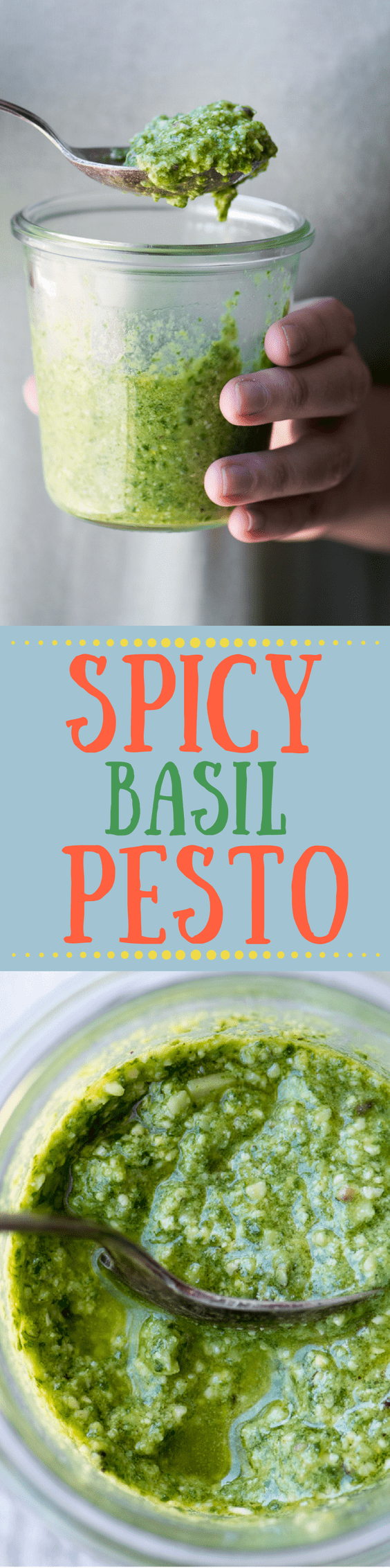 Spicy Basil Pesto ~ Serrano pepper takes the world's freshest sauce from simple to sassy in one fell swoop ~ stir it into freshly boiled pasta, spread it over grilled fish, spoon it on a baked potato, or soak it up with a torn piece of bread, it makes all other sauces obsolete.