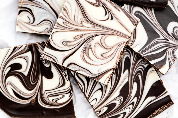 Tiger Butter Chocolate Bark is a stunning homemade candy that lets you unleash your creativity -- no two pieces will be alike! ~ theviewfromgreatisland.com