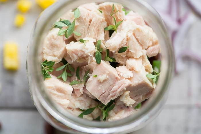 Tuna Salad Mason Jars are healthy and portable lunches ~ theviewfromgreatisland.com