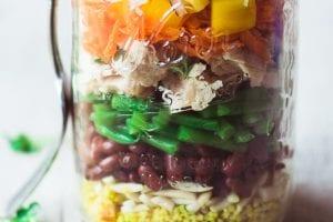 Healthy and colorful Tuna Salad Mason Jars ~ theviewfromgreatisland.com