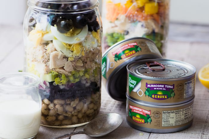 Tuna Salad Mason Jars make a healthy delicious lunch easy and portable! ~ theviewfromgreatisland.com