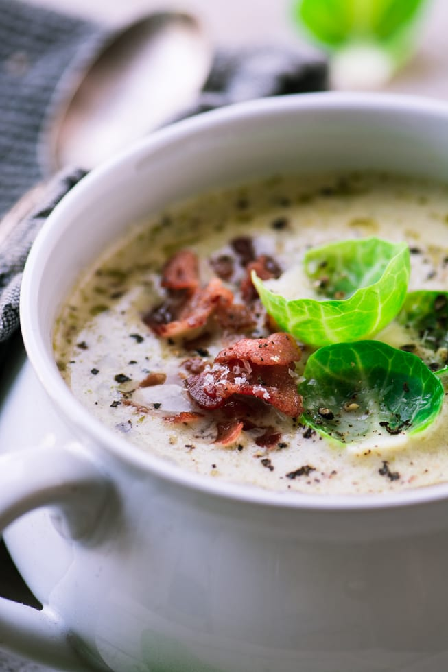 Cream of Brussels Sprout and Bacon Soup is a lush, cozy soup recipe
