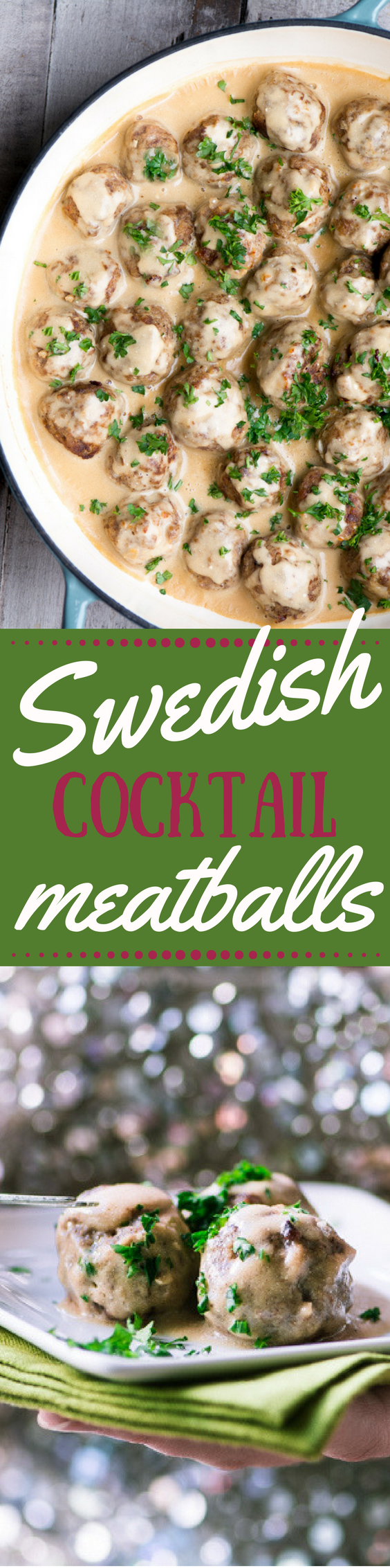 Swedish Cocktail Meatballs ~ tender 'Mad Men' era meatballs smothered in rich gravy ~ the ultimate holiday appetizer that you can whip up in under an hour! #appetizer #newyearseve #Christmasappetizer #holidayappetizer #meatballs #swedishrecipe #ikeameatballs #cocktailmeatballs #groundbeef