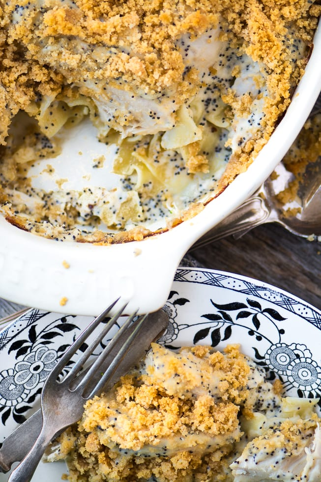 Cheesy Poppy Seed Chicken Casserole is a super comforting family meal with a twist! ~ theviewfromgreatisland.com