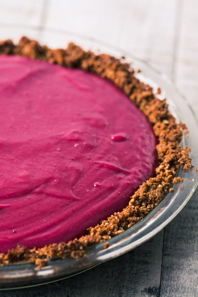 Cranberry Gingersnap Pie is a silky cranberry curd filling inside a spicy gingersnap crumb crust ~ yum! ~ theviewfromgreatisland.com
