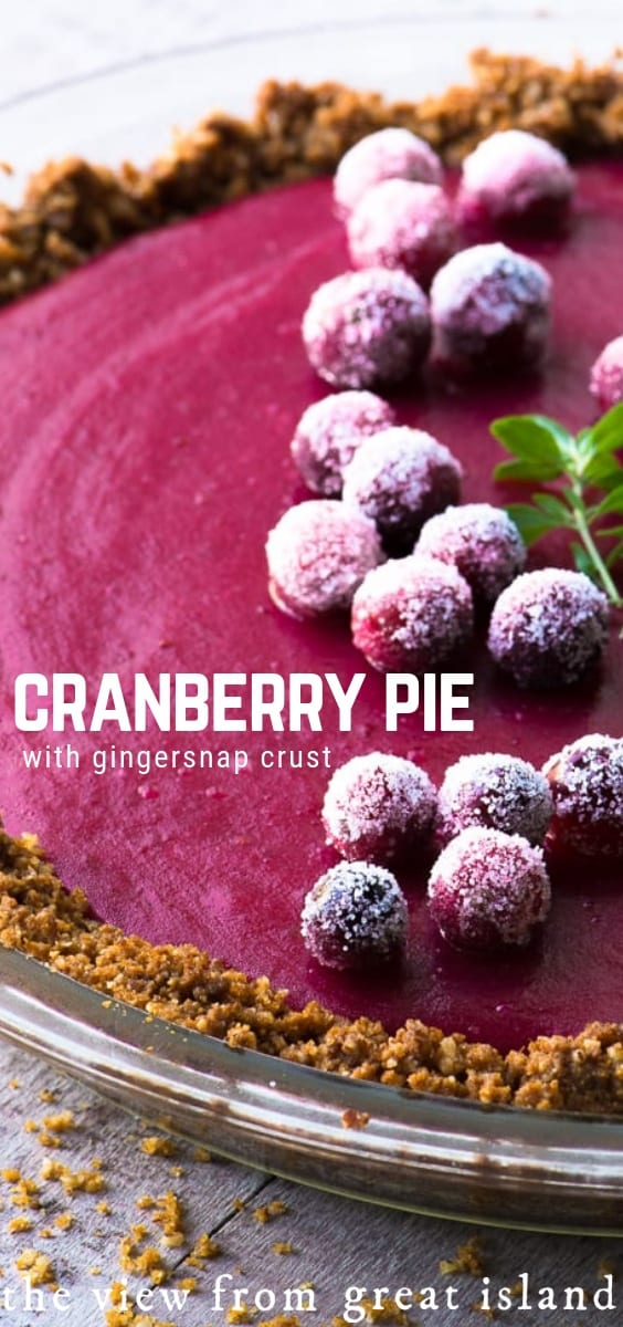 This Cranberry Pie with its spicy gingersnap crumb crust and silky cranberry curd filling brings a little va-va-voom to the traditional dessert table ~ this vibrant pie going to be everybody's holiday favorite! #pie #cranberries #holidays #Thanksgiving #thanksgivingpie #holidaydessert #crumbcrust #cranberrycurd #cranberrypie @gingernsapcrust #gingersnaps #recipe #curd