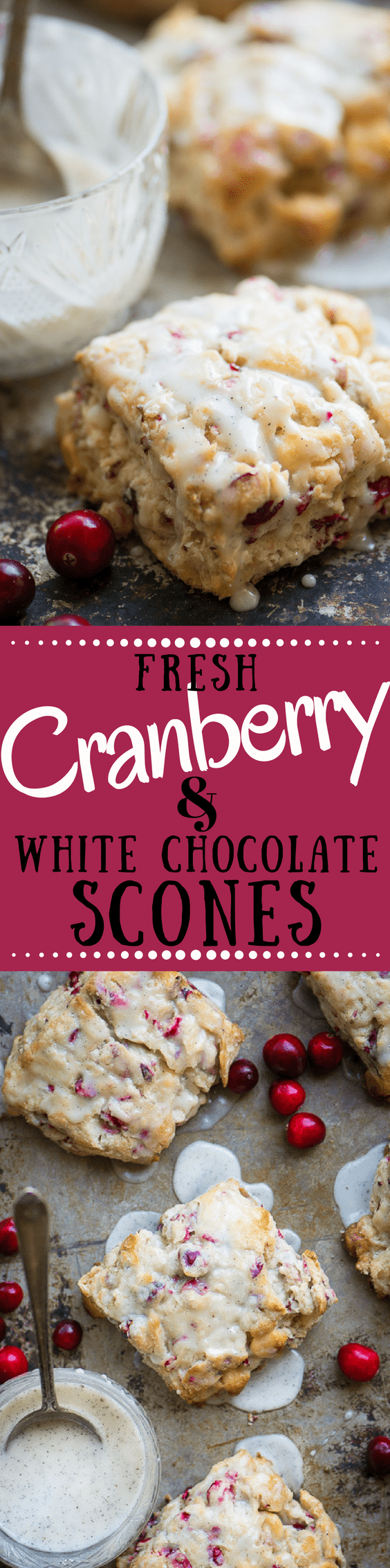 Chilly morning?  Cozy up with these Fresh Cranberry Scones ~ they're moist and flaky, loaded with lots of tart cranberries, and a touch of white chocolate ~ all topped with a vanilla bean glaze. #cranberries #scones #bestscones #breakfast #brunch #holidaybrunch #holidaybreakfast #holidayrecipe #whitechocolate