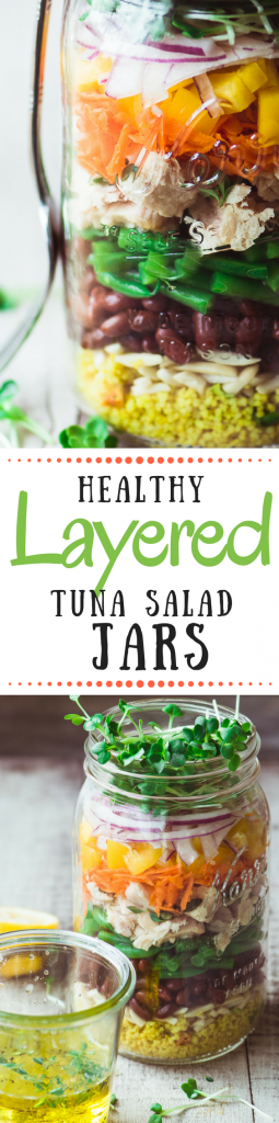 Healthy Layered Tuna Salad Mason Jars are a fun and delicious cure for the brown bag blues! ~ theviewfromgreatisland.com