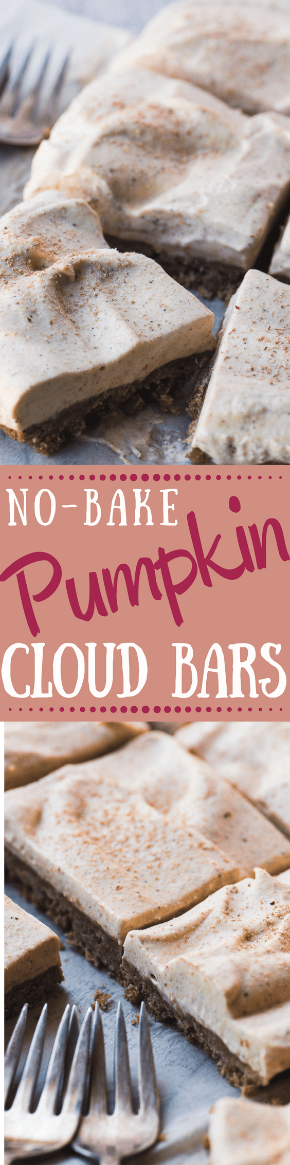 No Bake Pumpkin Cloud Bars ~ this whisper light pumpkin dessert with its spiced graham crust and fluffy pumpkin topping is perfect after a heavy meal! #pumpkindessert #nobake #nobakepumpkin #bestpumpkinbars #pumpkinbars #dessert #pumpkindessertrecipe