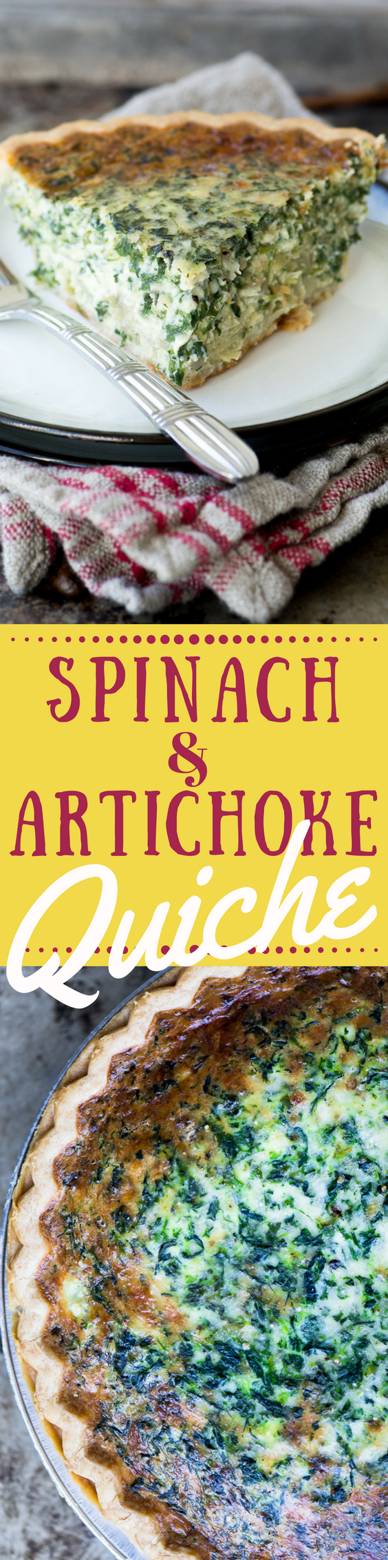 This Spinach and Artichoke Quiche ~ an easy meatless meal that proves that comfort food isn't all about meat and potatoes. #quiche #bestquiche #spinachquiche #quicherecipe #recipe #dinner #meatlessMonday #vegetarian #pie