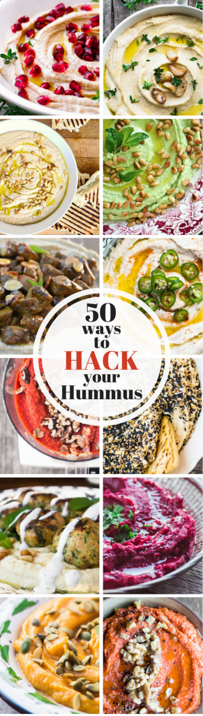 The doorbell just rang ~ and all you've got is a tub of hummus. What to do? Here are 50 ways to hack your hummus so you don't miss a step. These fun and easy appetizers will get the party started ~ and everybody wins! ~ theviewfromgreatisland.com