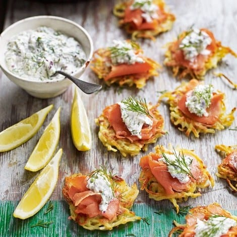 smoked salmon latkes from delicious magazine