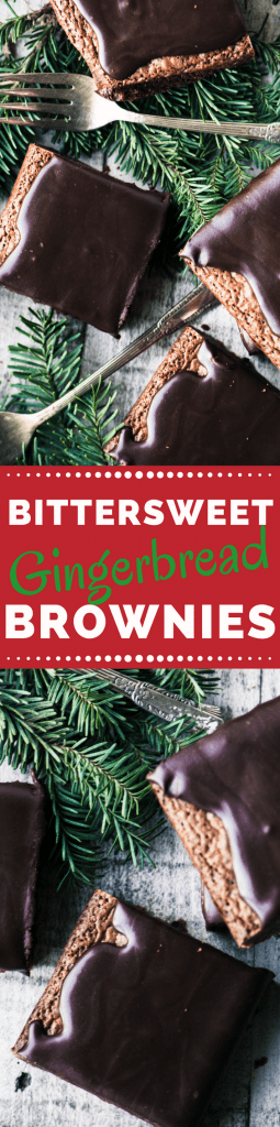 Bittersweet Gingerbread Brownies ~ these moist and chewy brownies are stepped up with molasses and warm winter spices ~ then topped off with a decadent bittersweet ganache for a unique holiday treat. ~ theviewfromgreatisland.com