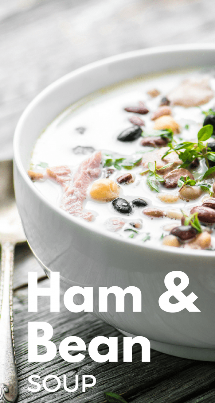 Creamy Ham and Bean Soup is a warm and inviting meal on a cold day ~ a light ham broth, a touch of cream, and lots of beans make this both healthy and hearty ~ theviewfromgreatisland.com