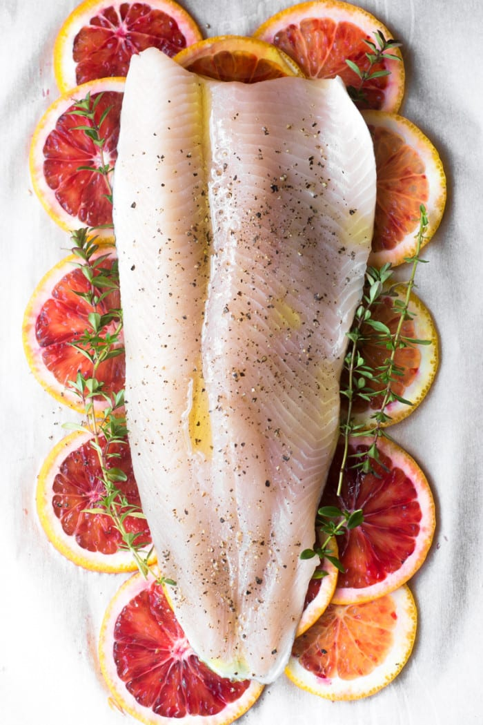 Fish with Blood Oranges and Thyme ~ theviewfromgreatisland.com