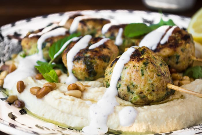 Hummus with Turkey and Zuccini Meatballs ~ theviewfromgreatisland.com