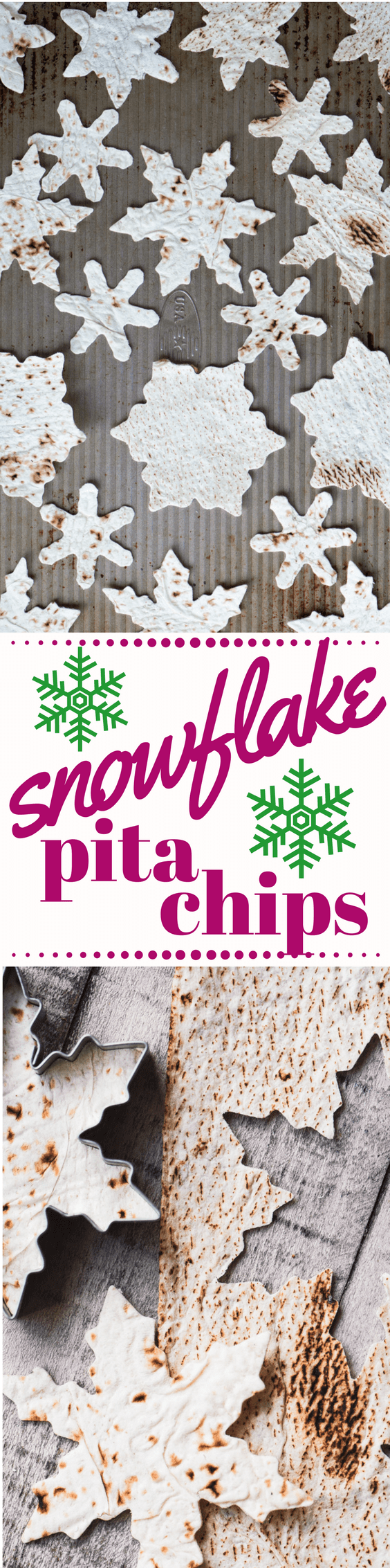Homemade Snowflake Pita Chips are a fun and festive way to add a little pizazz to your appetizers this season ~ they're so cute, and they're baked, not fried, so they're healthy too! #appetizer #pitachips #holidayappetizer #tortillachips